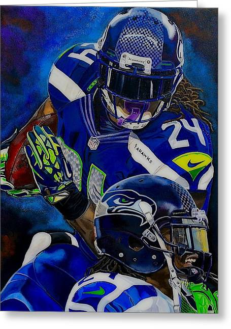 Bryant Paintings Greeting Cards - Marshawn Lynch BEAST MODE Greeting Card by Chris Eckley
