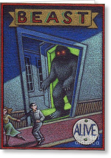 """""""haunted House"""" Drawings Greeting Cards - Beast Greeting Card by Thomas Sciacca"""