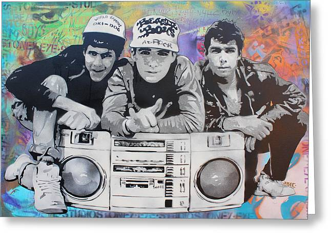 Stencil Spray Greeting Cards - Beastie Boys Greeting Card by Josh Cardinali