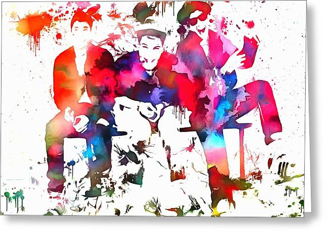 Hiphop Greeting Cards - Beastie Boys Paint Splatter Greeting Card by Dan Sproul
