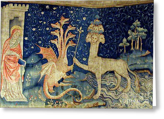 Important Greeting Cards - Beasts Of The Apocalypse Tapestry Greeting Card by Photo Researchers