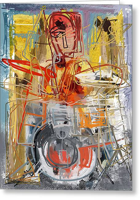 Drummer Mixed Media Greeting Cards - Beat Banging Greeting Card by Russell Pierce