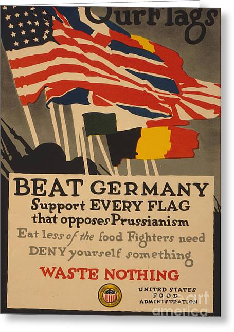 Ww1 Drawings Greeting Cards - Beat Germany Greeting Card by Adolph Treidler