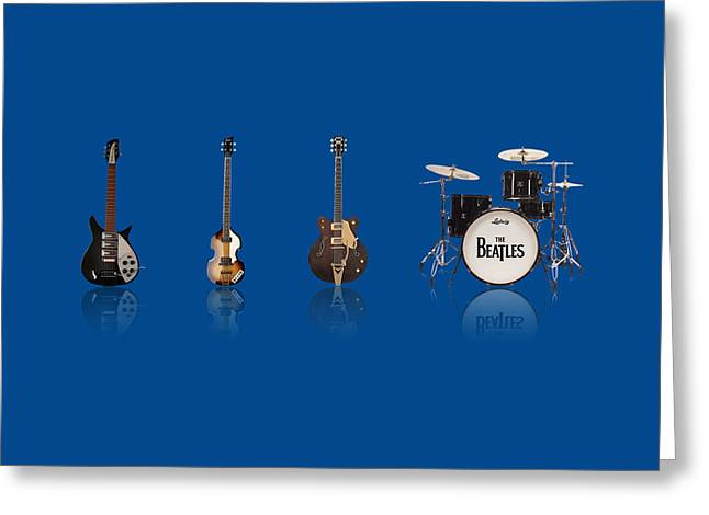 George Harrison Images Greeting Cards - Beat of Beatles blue Greeting Card by Six Artist
