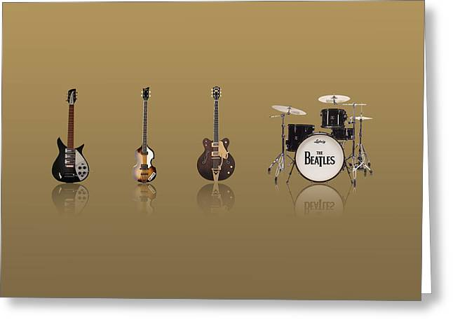 John Lennon Images Greeting Cards - Beat of Beatles gold Greeting Card by Six Artist