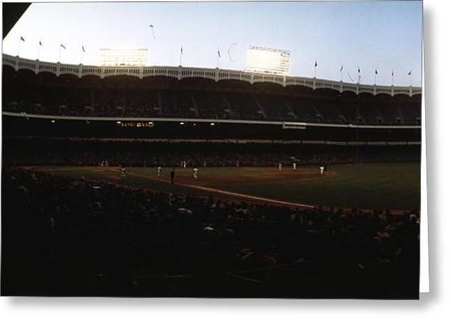 New York Vista Greeting Cards - Yankee Stadium Greeting Card by Retro Images Archive