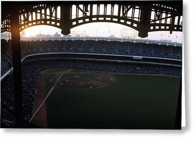 New York Vista Greeting Cards - Beatiful View Of Old Yankee Stadium Greeting Card by Retro Images Archive