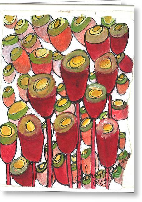 Wild Orchards Paintings Greeting Cards - Beating of the Drum Greeting Card by Sherry Harradence