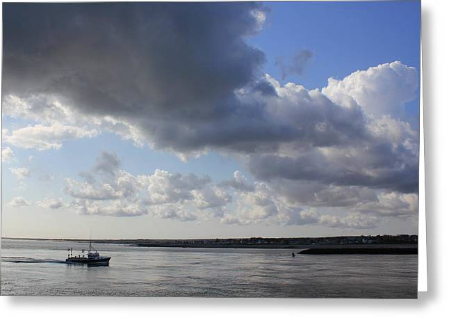 Storm Clouds Cape Cod Greeting Cards - Beating the Storm Greeting Card by Amazing Jules