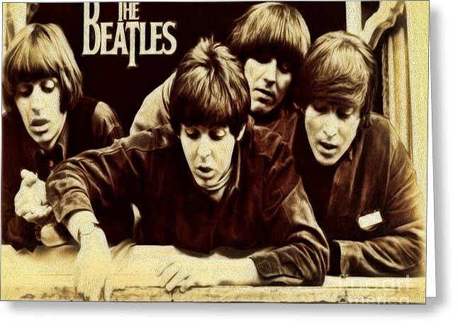 Paul Mccartney Greeting Cards - Beatles Greeting Card by Cheryl Young