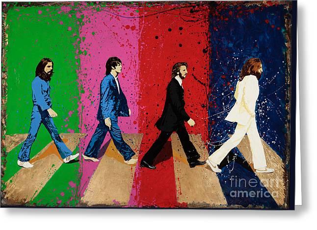 Beatles Crossing Greeting Card by Chris Mackie