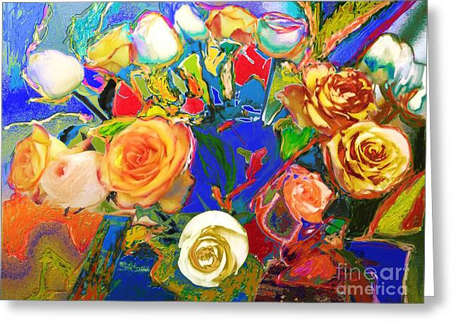 Beatles Flowers Abstract Greeting Card by Eunice Broderick