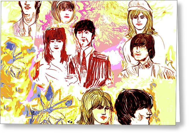Moose Drool Greeting Cards - Beatles girls one Greeting Card by Moshe Liron