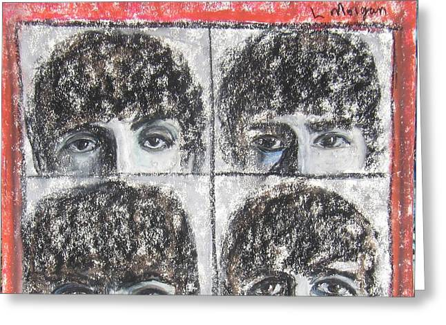 George Harrison Pastels Greeting Cards - Beatles Hard Days Night Greeting Card by Laurie Morgan