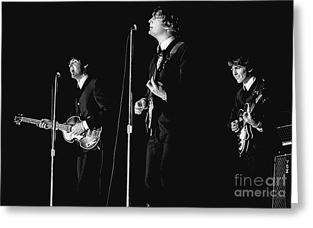 Paul Mccartney Greeting Cards - Beatles In Concert, 1964 Greeting Card by Larry Mulvehill
