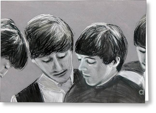 Ringo Starr Pastels Greeting Cards - Beatles in the Studio Greeting Card by Ruth Jamieson