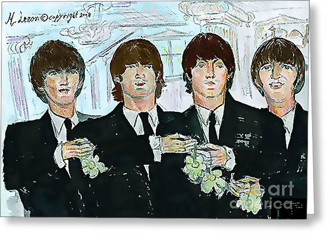 Moose Drool Greeting Cards - Beatles M.b.e Greeting Card by Moshe Liron