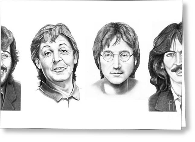 Paul Mccartney Drawings Greeting Cards - Beatles Greeting Card by Murphy Elliott