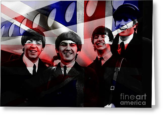Celebrities Mixed Media Greeting Cards - Beatles Painting Greeting Card by Marvin Blaine