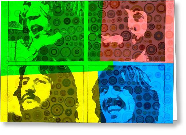 George Harrison Mixed Media Greeting Cards - Beatles Pop Art Collage Greeting Card by Dan Sproul