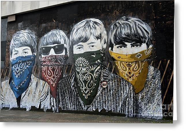Kerchief Greeting Cards - Beatles street mural Greeting Card by RicardMN Photography