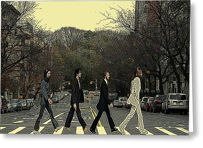 Cabin Wall Greeting Cards - Beatles Walk New York Greeting Card by Movie Poster Prints