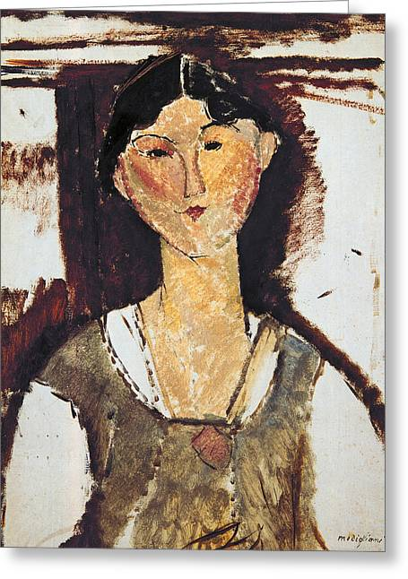 Signature Greeting Cards - Beatrice Hastings Greeting Card by Amedeo Modigliani