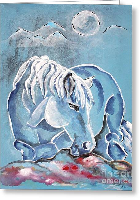 Horse Greeting Cards - Blue Beau - Horse Art by Valentina Miletic Greeting Card by Valentina Miletic