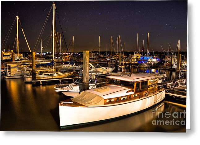 Sailboats In Harbor Greeting Cards - Beaufort SC Night Harbor Greeting Card by Reid Callaway