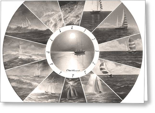 Wind In The Sails Greeting Cards - Beaufort scale Greeting Card by Miki Karni