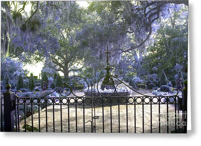 Fantasy Tree Photographs Greeting Cards - Beaufort South Carolina Dreamy Purple Lilac Garden Gates  Greeting Card by Kathy Fornal
