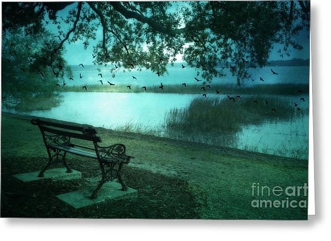 Photos Of Birds Greeting Cards - Beaufort South Carolina Surreal Ocean Inland Scene Greeting Card by Kathy Fornal