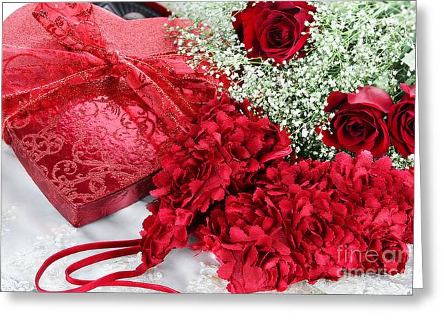 Straps Greeting Cards - Beauitful Roses and Lingerie Greeting Card by Stephanie Frey