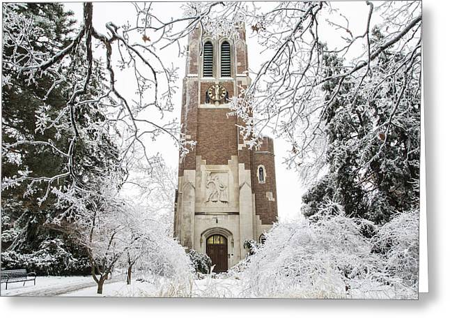 Beaumont Tower Ice Storm  Greeting Card by John McGraw
