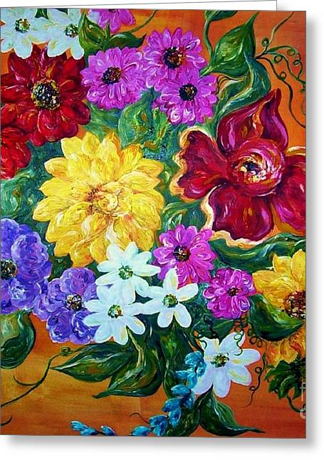 Flower Still Life Prints Greeting Cards - Beauties in Bloom Greeting Card by Eloise Schneider