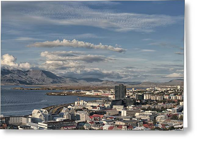 Panoramic Ocean Greeting Cards - Reykjavik Iceland skyline Greeting Card by Marianne Campolongo