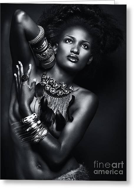 Jewellery Greeting Cards - Beautiful African American Woman Wearing Jewelry Greeting Card by Oleksiy Maksymenko
