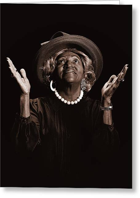 Praying Hands Greeting Cards - Beautiful African-American woman worshiping Greeting Card by Russell Shively