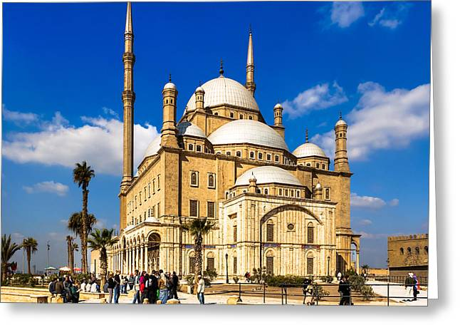 Alabaster Greeting Cards - Beautiful Alabaster Mosque in Cairo Egypt Greeting Card by Mark Tisdale