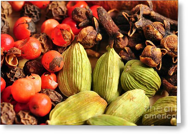 Unprepared Greeting Cards - Beautiful and colorfu spice food background Greeting Card by Sylvie Bouchard