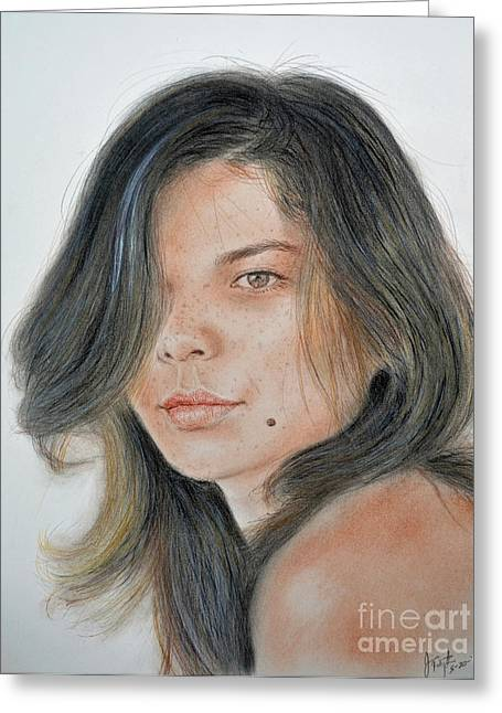 Recently Sold -  - Beauty Mark Mixed Media Greeting Cards - Beautiful and Sexy Actress Jeananne Goossen III  Greeting Card by Jim Fitzpatrick