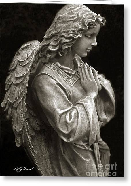 Coffin Greeting Cards - Beautiful Angel Praying Hands Christian Art Print Greeting Card by Kathy Fornal