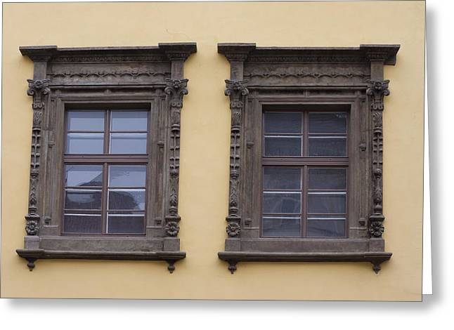 Czechia Greeting Cards - Beautiful Architecture windows Greeting Card by Chris Smith