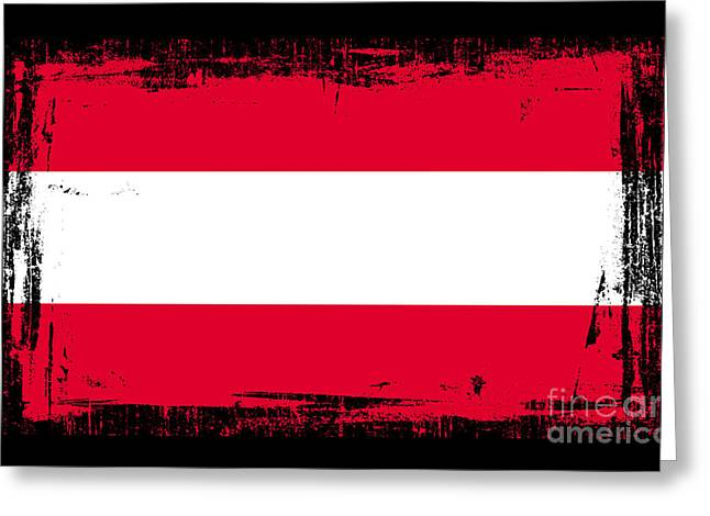 Europe Mixed Media Greeting Cards - Beautiful Austria Flag Greeting Card by Pamela Johnson
