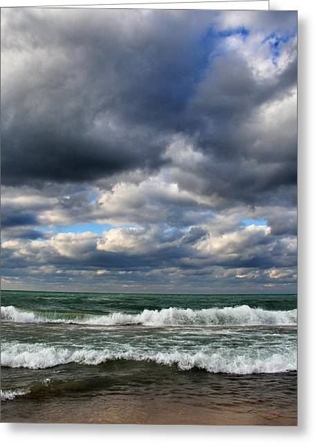 Beach Sand Birds Flying Clouds Sun Sky Trees Grass Building Day Beautiful Wings Flock Greeting Cards - Beautiful Autumn Day At The Beach Greeting Card by Paul Szakacs