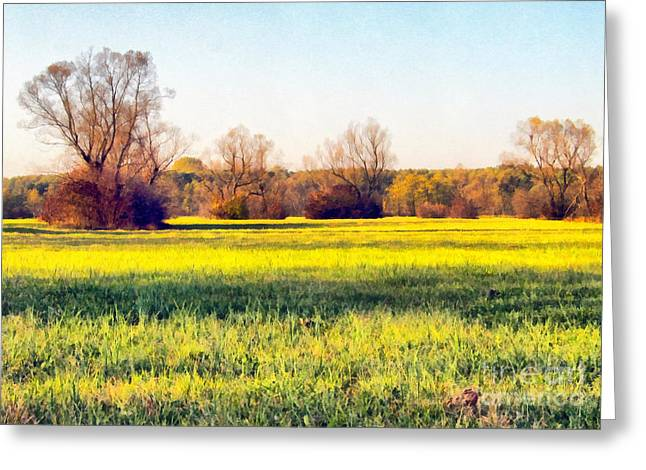 Field. Cloud Greeting Cards - Beautiful Autumn Landscape Paint Greeting Card by Odon Czintos