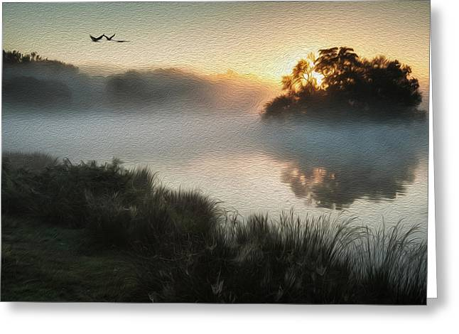 Flying Animal Greeting Cards - Beautiful Autumnal landscape image of birds flying over misty lake digital painting Greeting Card by Matthew Gibson