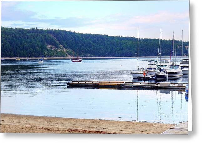 Masts Greeting Cards - Beautiful beach and harbor landscape Greeting Card by Sylvie Bouchard