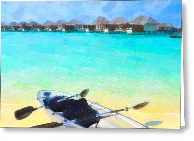 Sea Platform Paintings Greeting Cards - Beautiful beach with water bungalows at Maldives Greeting Card by Lanjee Chee