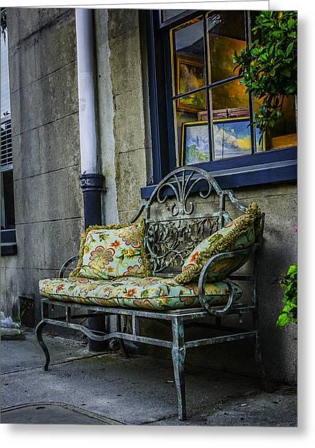 Charleston Sidewalk Greeting Cards - Beautiful Bench Greeting Card by Wendy Mogul
